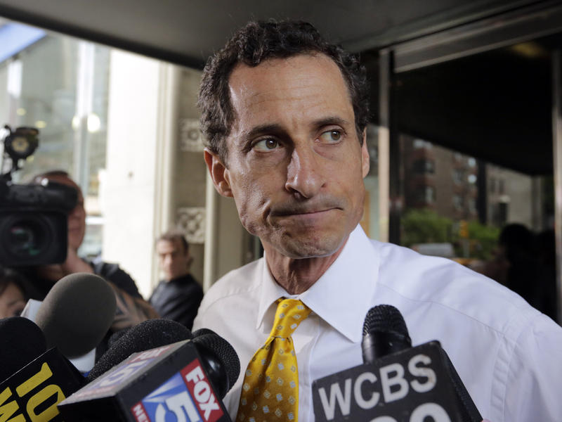 Previous sexting scandals had put an end to the political career of former Rep. Anthony Weiner, seen leaving his apartment building in New York in 2013.
