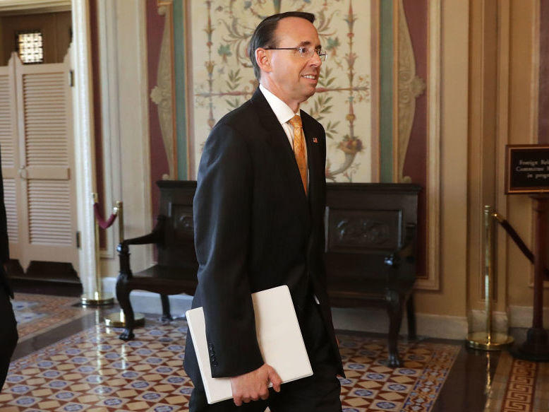 Deputy Attorney General Rod Rosenstein leaves the U.S. Capitol following a closed-door briefing with members of the House of Representatives on Friday.