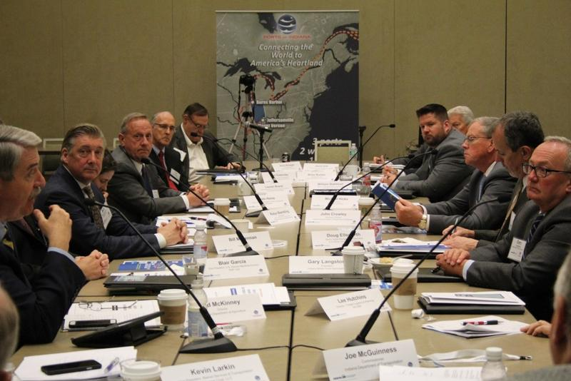 Industry and transportation leaders discuss infrastructure solutions at a forum in Indianapolis Thursday. (Annie Ropeik/IPB News)