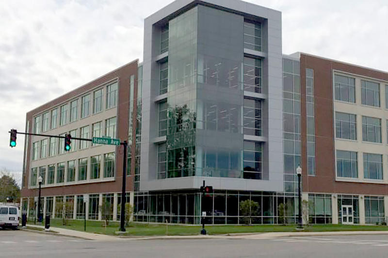 The UIndy Health Pavilion spans 160,000 square feet at the corner of Hanna and State avenues. (Deron Molen/WFYI News)