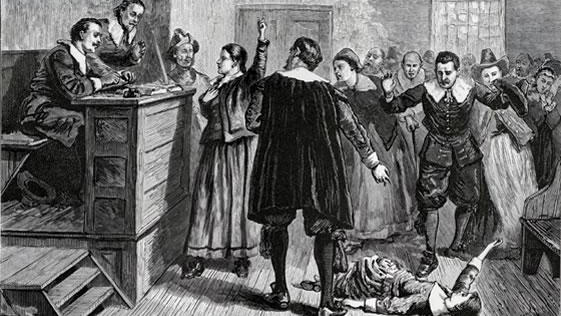 <p>This image depicts the Salem witch trials. </p>