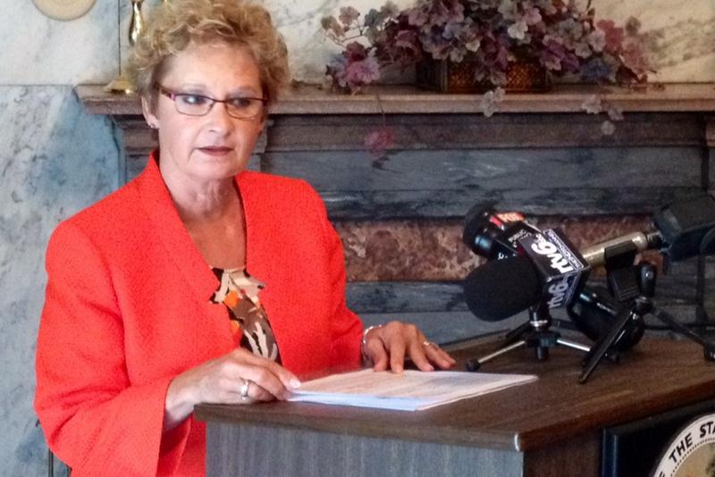 Secretary of State Connie Lawson, who will run for re-election in 2018, discusses a voter roll cleanup effort in 2014. (Brandon Smith/IPB News)