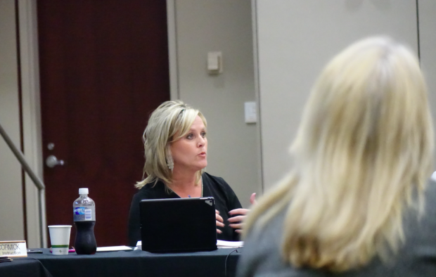 Jennifer McCormick leads the State Board of Education meeting May 10. (Eric Weddle/WFYI News)