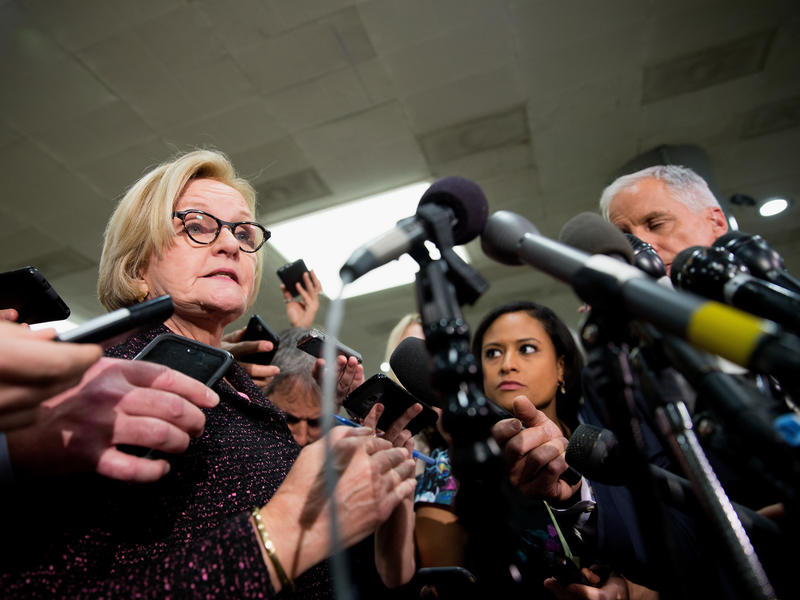 Sen. Clarie McCaskill, D-Mo., speaks to the media after the closed briefing on Capitol Hill with Deputy Attorney General Rod Rosenstein on Thursday.