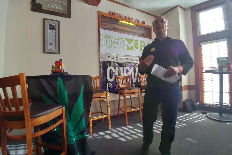 Marijuana Business Association founder Dave Rheins speaks at the Antelope Club in Indianapolis Tuesday. (Annie Ropeik/IPB News)