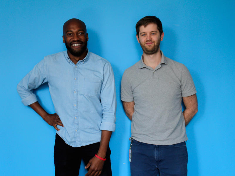 Sam Sanders (left) is the host of NPR's new podcast, It's Been a Minute with Sam Sanders, and Brent Baughman (right) is the producer.