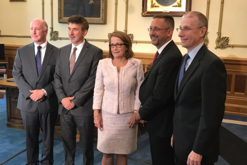 Christopher Goff (second from left) poses with his new Supreme Court colleagues - (from left to right) Justices Mark Massa and Steven David, Chief Justice Loretta Rush, and Justice Geoffrey Slaughter. (Brandon Smith/IPB News)