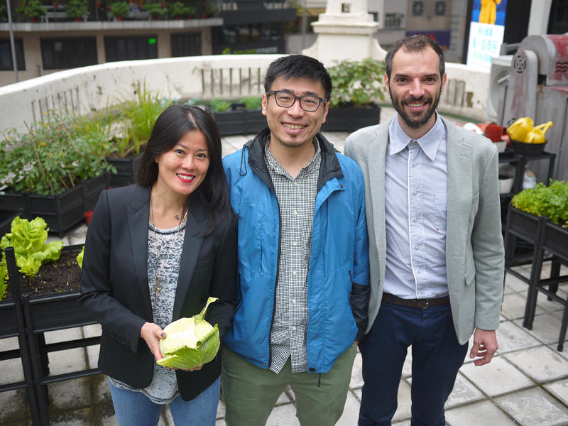 Client Gina Ma (left) stands with Rooftop Republic's Andrew Tsui (center) and Pol Fàbrega (left) amid the rooftop garden of a French restaurant in central Hong Kong.