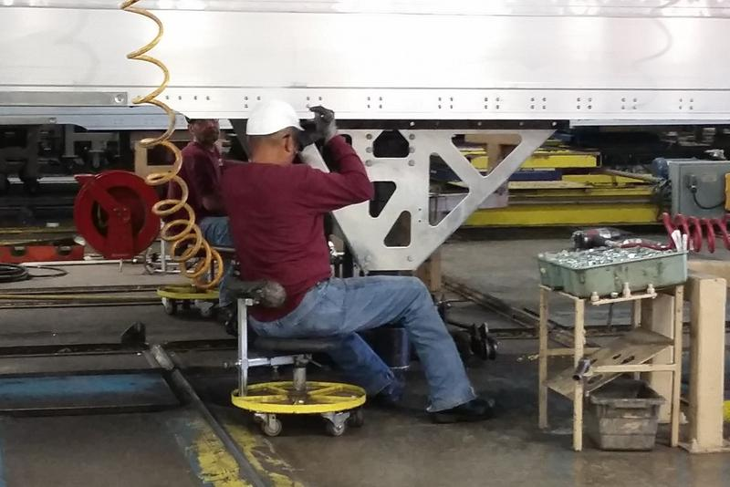 A worker assembles a truck trailer at Wabash National in Lafayette. (Annie Ropeik/IPB File Photo)