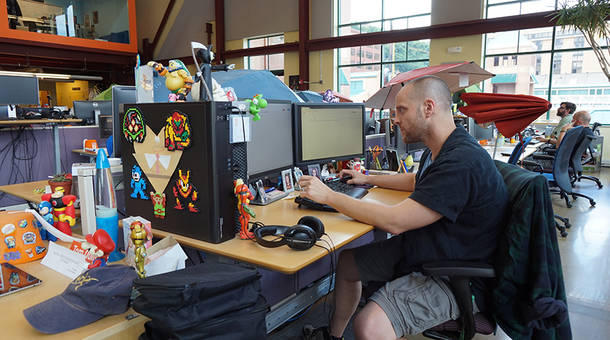 """Tom Quitoni is a quality assurance manager at Schell Games. There, managers review workers, workers review managers and everyone provides feedback on others in the company. """"It gives you a unique perspective,"""" Quitoni said."""