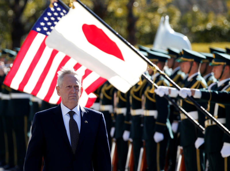 <p>US Defense Secretary Jim Mattis reviews the honor guard before a meeting with Japan's Defense Minister Tomomi Inada at the Defense Ministry in Tokyo, Japan, February 4, 2017.</p>