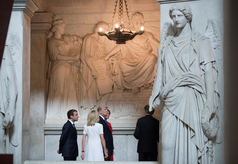 <p>US President Donald Trump and First Lady Melania Trump tour Napoleon Bonaparte's Tomb with French President Emmanuel Macron and his wife Brigitte Macron, at Les Invalides in Paris, on July 13, 2017. </p>