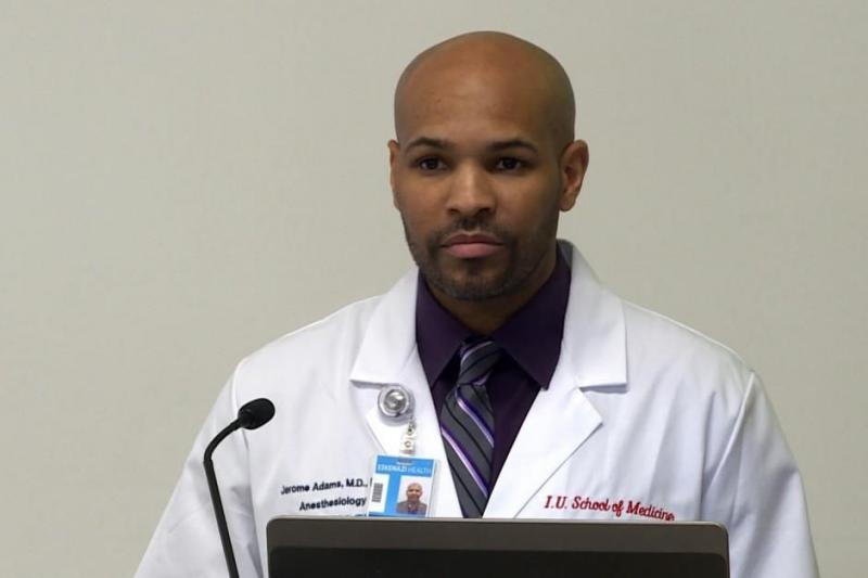 FILE PHOTO: Health Commissioner Jerome Adams speaking at a HIP 2.0 briefing in 2015. (Gretchen Frazee/WTIU)