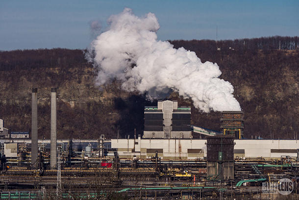 <p>Clairton Coke Works. While the large white plume in this photo is mostly water vapor, the plant is a significant source of harmful air pollution.</p>