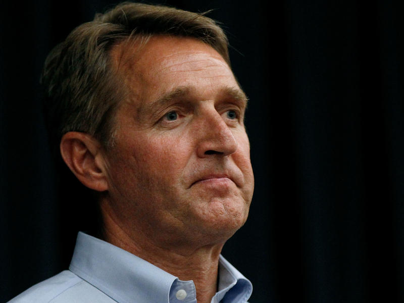 Sen. Jeff Flake, R-Ariz., at an town hall event in Mesa, Ariz. He wrote a new book, in secret, criticizing President Trump and Republicans who have not stood up to him in defense of conservative values.