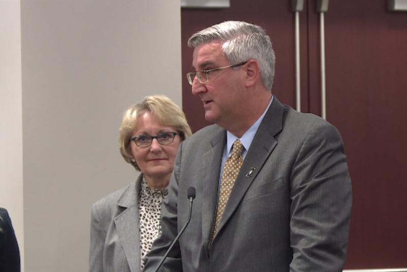 Gov. Eric Holcomb speaks at the INSPECT announcement. (Jill Sheridan/IPB News)