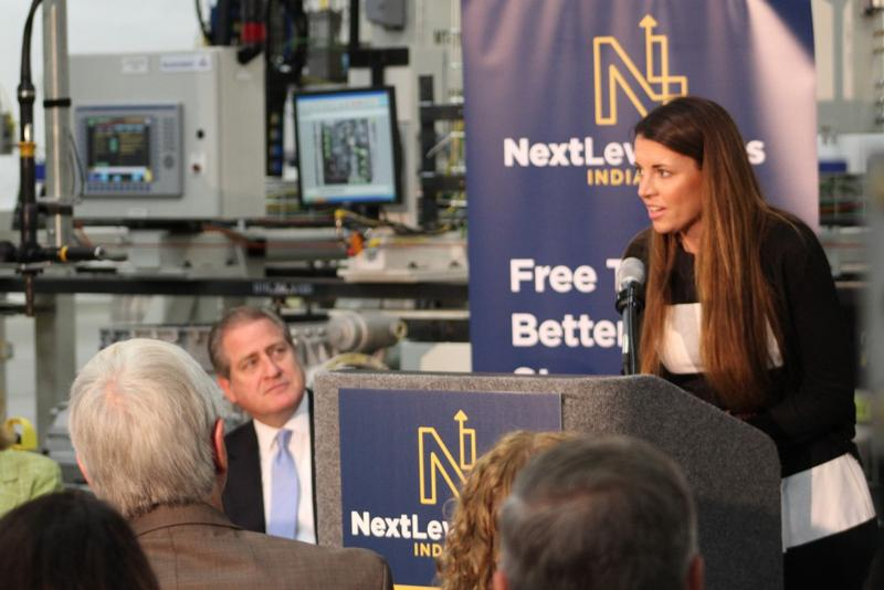 The state's new secretary of career connections and talent, Blair Milo, spent her first day on the job talking about two new workforce development grants at Allison Transmission in Indianapolis Monday. (Annie Ropeik/IPB News)