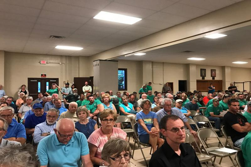 Over 200 Whitely County residents attended a plan commission meeting to establish temporary setbacks for CAFOs. (Nick Janzen/IPBS)