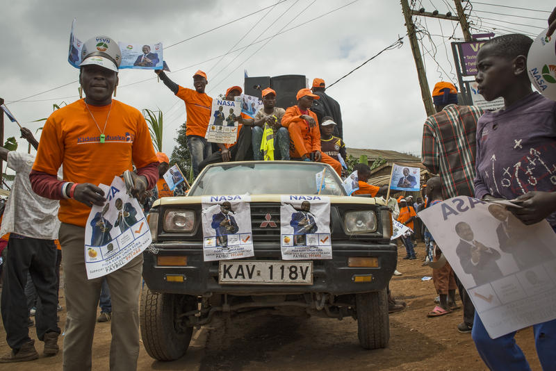 <p>Opposition party members chant campaign slogans in support of National Super Alliance Presidential candidate, Raila Odinga in Kibera, Nairobi.Kenya's upcoming elections pinned current President Uhuru Kenyatta against his long-time rival Odinga, who ha