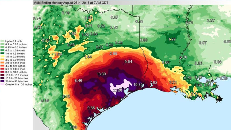 """<p>""""So much rain has fallen,"""" the National Weather Service <a href=""""https://twitter.com/NWS/status/902174274571689984"""">tweeted</a> about Harvey on Monday,""""we've had to update the color charts on our graphics in order to effectively map it.""""</p>"""