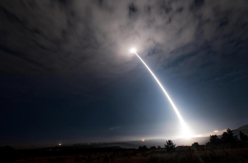<p>A test launch of a Minuteman III intercontinental ballistic missile at Vandenberg Air Force Base, California, August 2, 2017.</p>