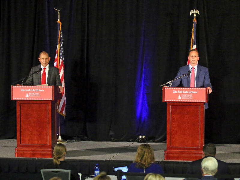 Republican candidates John Curtis, left, Tanner Ainge, and Chris Herrod, participate in a debate at the Utah Valley Convention Center Friday, July 28, 2017, in Provo. The Republican candidates, vying for the seat vacated by U.S. Rep. Jason Chaffetz, debat