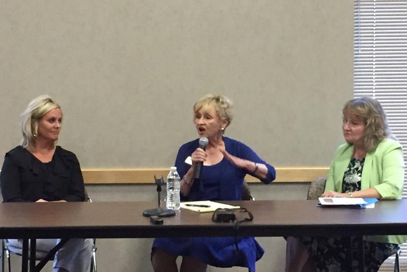 Indiana School Superintendent Jennifer McCormick, left, was part of a panel about the future of Indiana public education with Suellen Reed, center, and Glenda Ritz at the Dean Evans Center in Indianapolis on Saturday, August. 26, 2017. (Credit: Eric Weddl