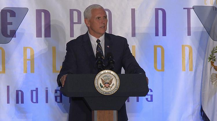 "Talking about violent crime in cities like Indianapolis, Vice President Pence says ""We can't just arrest our way out of the problem, we've got to create opportunities for people."""