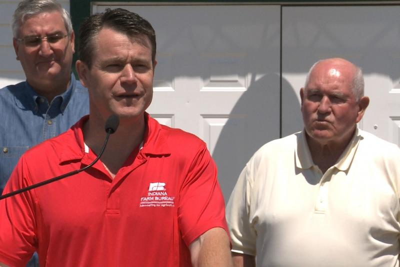 Todd Young speaks at the Indiana State Fair. (JD Gray/WTIU)