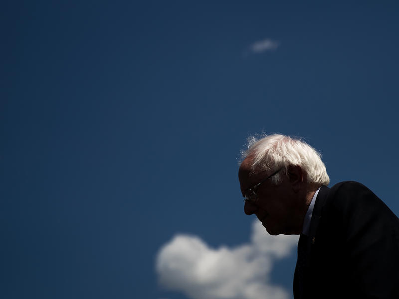 Sen. Bernie Sanders, I-Vt., pauses while speaking about health care on Capitol Hill on June 26.