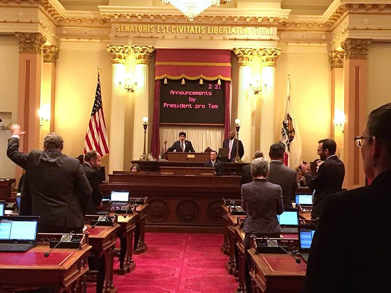 Senate President pro Tem Kevin de León gavels California legislative session to a close in the wee hours of the morning on Saturday, September 16, 2017.