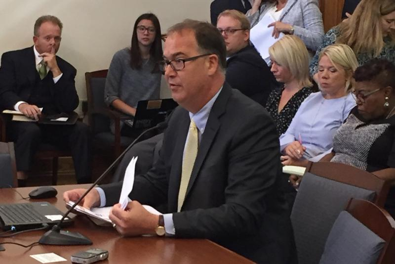 Gleaners CEO John Elliot testifies at food desert study committee. (Jill Sheridan/IPB News)