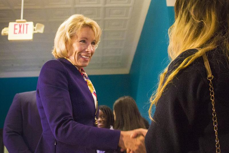 Education Secretary Betsy DeVos during a visit to an Indianapolis private school this year. (Credit: Peter Balonon-Rosen/IPBS)