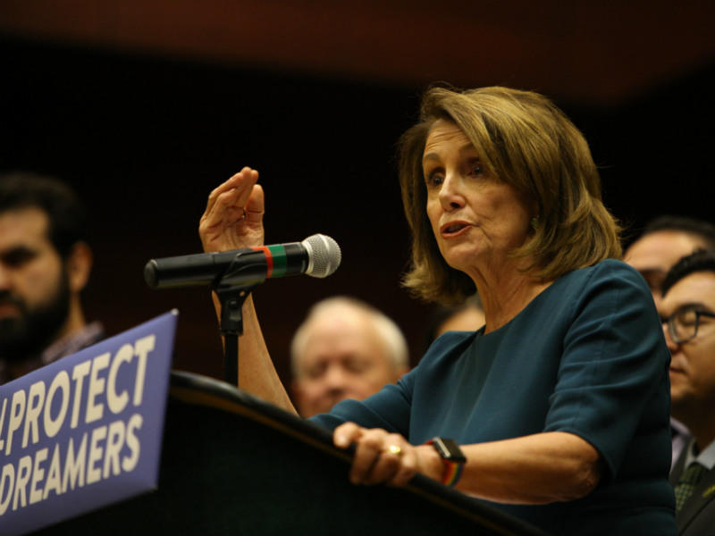 Nancy Pelosi expresses her support for passing the DREAM act at Sacramento State University on Monday, Sept. 18, 2017.