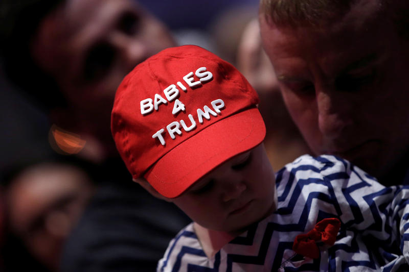 """<p>A small child wears a """"Babies 4 Trump"""" cap as the then-candidate Donald Trump spoke at a rally inGreenville, North Carolina, on Sept. 6, 2016.</p>"""
