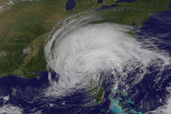 Tropical Storm Irma over Florida (Credit: NASA/NOAA GOES Project)