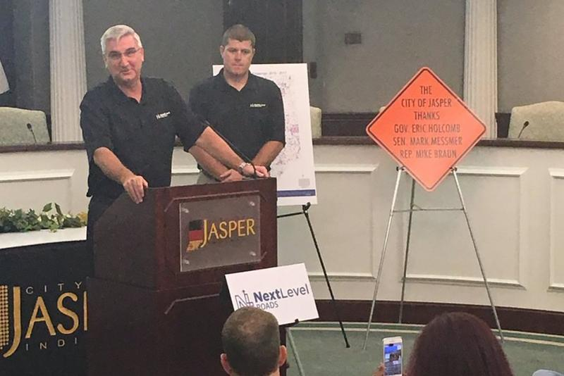 Gov. Eric Holcomb announces the 2017 Community Crossings grants in Jasper, which received the largest single amount this year - $1 million. (@GovHolcomb/Twitter)