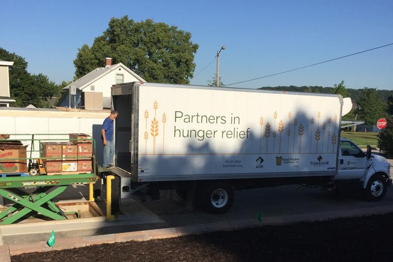 Food is unloaded at the Lafayette-based Food Finders. (Jill Sheridan/IPB News)