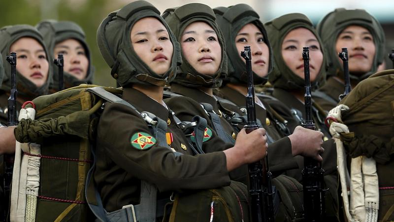<p>North Korean soldiers look on during the parade celebrating the anniversary of the founding of the ruling Workers' Party of Korea, in Pyongyang, on Oct. 10, 2015.</p>