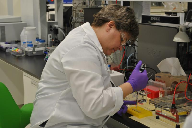 An agricultural researcher works at Dow AgroSciences in Indianapolis. (Courtesy Dow AgroSciences)