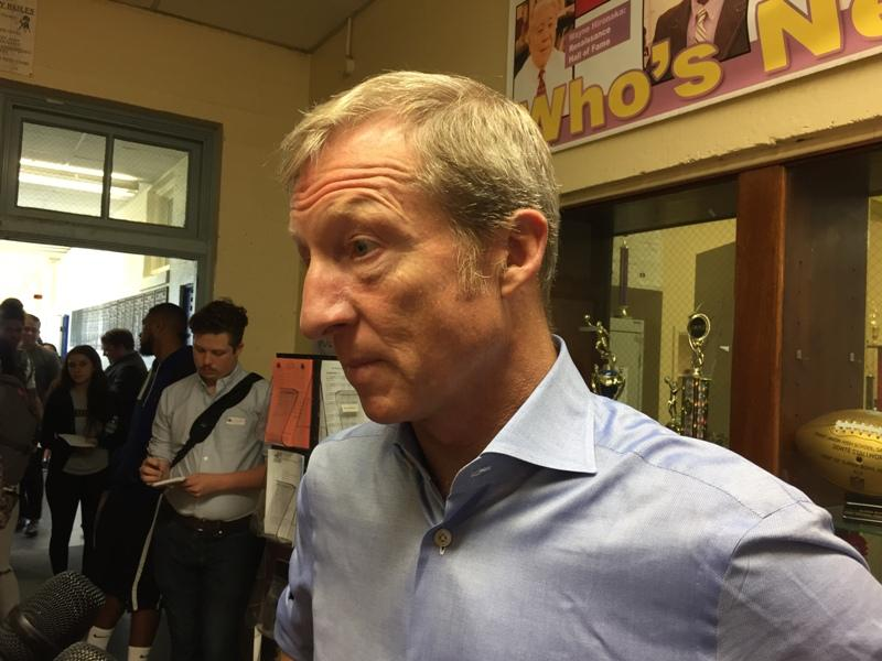 Venture capitalist and political activist Tom Steyer speaks with reporters after addressing Grant Union High School students in Sacramento on National Voter Registration Day, Tuesday, September 26, 2017.