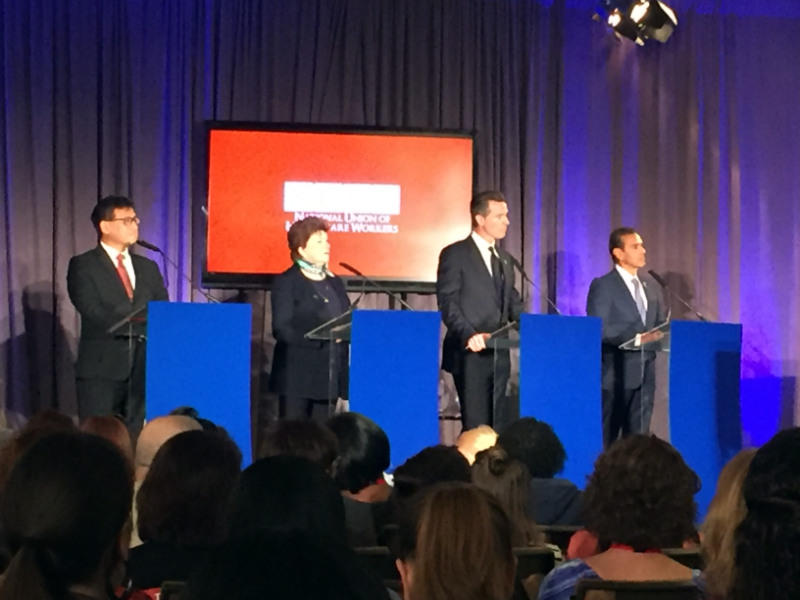 The four Democrats running for California Governor in 2018 met for their first forum at the NUHW conference in Anaheim, Calif., on Sunday, Oct. 22, 2017. From left: John Chiang, Delaine Eastin, Gavin Newsom and Antonio Villaraigosa.