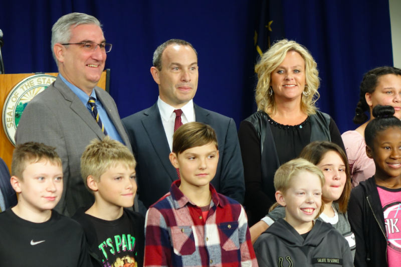 Indiana Gov. Eric Holcomb, EducationSuperHighway CEO Evan Marwell and State Superintendent of Public Instruction Jennifer McCormick annouce a partnership to improve high-speed broadband access to Indiana schools on Tuesday, Oct. 24, 2017 at Metropolitan S