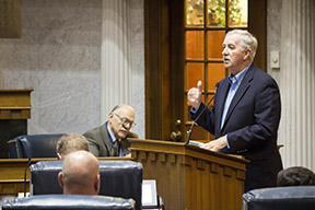 County Commissioner Bruce Buchanan (R-Benton County) testified before the Energy, Utility & Telecommunications legislative study committee on the value of wind energy and potential conflicts of interest for public officials. (Nick Janzen/IPBS)