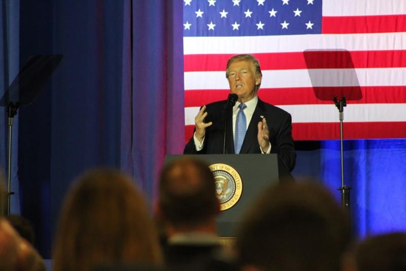 President Donald Trump rolls out tax reform details at a speech in Indianapolis. (Annie Ropeik/IPB News)