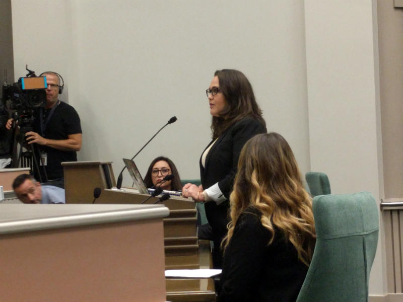 Political consultant Pamela Lopez testifies about sexual harassment she's experienced while working in politics at the California state Capitol.