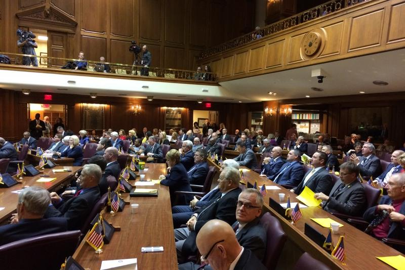 Members of the Indiana House of Representatives convene for Legislative Organizational Day prior to the 2018 session. (Jeanie Lindsay/IPB News)