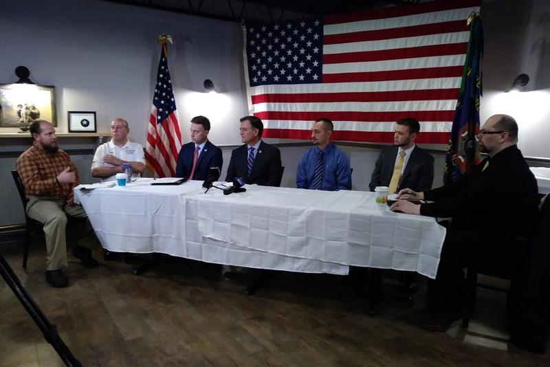 U.S. Rep. Luke Messer at a roundtable discussion with Hoosier veterans on the impact of ITT Tech's closure. (Lauren Chapman/IPB News)