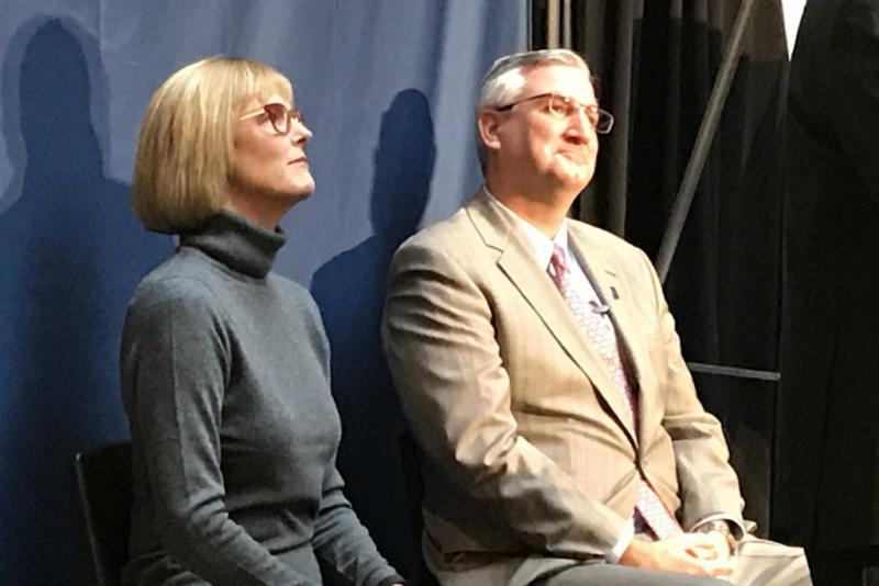 Gov. Eric Holcomb (R-Indiana), right, says the state isn't ready to decriminalize marijuana for any purpose. (Brandon Smith/IPB News)