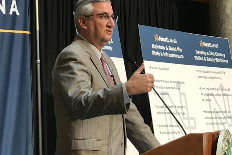 "Gov. Eric Holcomb's (R-Ind.) 2018 agenda builds on his previously-outlined ""five pillars:"" economic diversification, infrastructure, workforce alignment, addressing the drug epidemic, and improved government services. (Brandon Smith/IPB News)"
